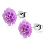 Stainless Steel Resin Dahlias Lotus Flower Floral Cubic Zirconia Stud Earrings - Comfort Zone Studios