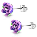 Stainless Steel Cubic Zirconia 3-Tone Fimo Polymer Clay Rose Flower Floral Stud Earrings - Comfort Zone Studios