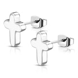 Stainless Steel Latin Rounded Cross Stud Earrings - Comfort Zone Studios