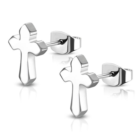 Stainless Steel Medieval Cross Stud Earrings - Comfort Zone Studios