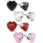 Stainless Steel Prong-Set Cubic Zirconia Love Heart Stud Earrings - Comfort Zone Studios