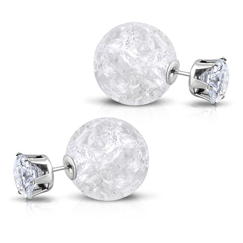 Stainless Steel Double Sided 8 MM CZ & 15 MM Crystal Candy Ball Stud Earrings - Comfort Zone Studios