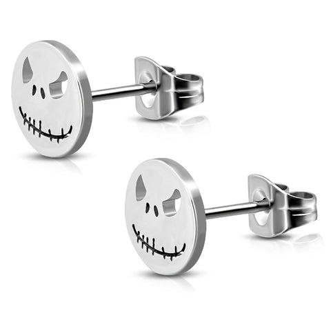 Stainless Steel Jack Skellington Cut-Out Round Circle Button Stud Earrings - Comfort Zone Studios