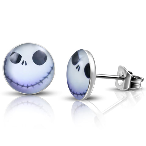 Stainless Steel Happy Jack Skellington Round Circle Button Stud Earrings - Comfort Zone Studios