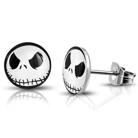 Stainless Steel Jack Skellington Round Circle Button Stud Earrings - Comfort Zone Studios