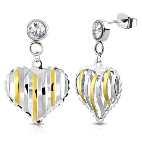 Stainless Steel Cut-Out Heart Pierced Drop Dangle Cubic Zirconia Stud Earrings - Comfort Zone Studios