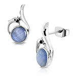 Stainless Steel Swan Song Round Cabochon Sky Blue Cat Eyes Stone Stud Earrings - Comfort Zone Studios