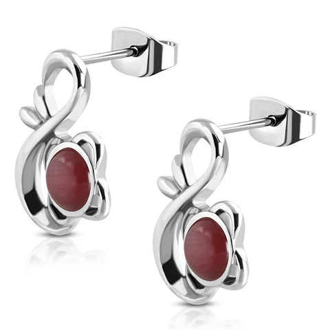 Stainless Steel Floral Infinity Figure 8 Round Cabochon Scarlet Red Cat Eyes Stone Stud Earrings - Comfort Zone Studios