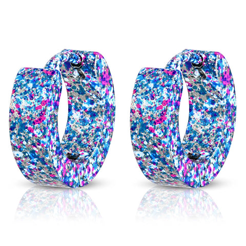 Stainless Steel Artisan Colorful Paint Blotches Hoop Huggie Earrings - Comfort Zone Studios