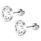 Stainless Steel Full All Star Open Cut-Out Round Circle Button Stud Earrings - Comfort Zone Studios