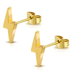 Stainless Steel Lightning Bolt Thunder Button Stud Earrings - Comfort Zone Studios