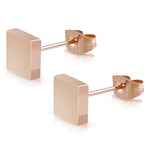 Stainless Steel Illusion Square Box Button Stud Earrings - Comfort Zone Studios