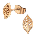 Stainless Steel Tiny Nature Leaf Stud Post Earrings - Comfort Zone Studios