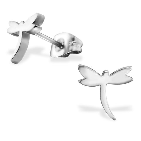 Stainless Steel Dragonfly Cut-Out Stud Post Earrings - Comfort Zone Studios