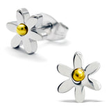 Stainless Steel Daisy Flower Two-Tone Floral Stud Post Earrings - Comfort Zone Studios