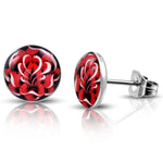 Stainless Steel Fire Red Floral Rose Circle Round Button Stud Post Earrings - Comfort Zone Studios