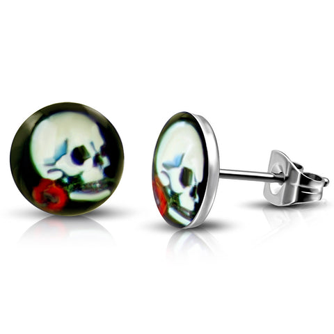 Stainless Steel Vintage Day of the Dead Skull Red Rose Circle Round Button Stud Post Earrings - Comfort Zone Studios