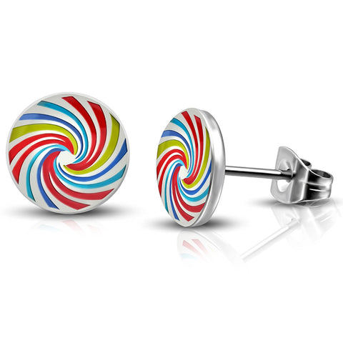 Steel Rainbow Spiral Lollipop Candy Circle Round Button Stud Post Earrings - Comfort Zone Studios