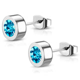 Stainless Steel Bezel-Set Cubic Zirconia Illusion Circle Round Button Stud Post Earrings - Comfort Zone Studios