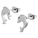 Stainless Steel Tiny Spiral Dolphin Button Stud Post Earrings - Comfort Zone Studios