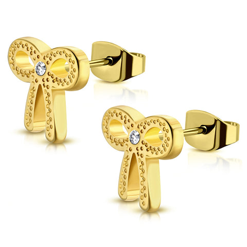 Stainless Steel Infinity Bow Ribbon Cubic Zirconia Stud Post Earrings - Comfort Zone Studios