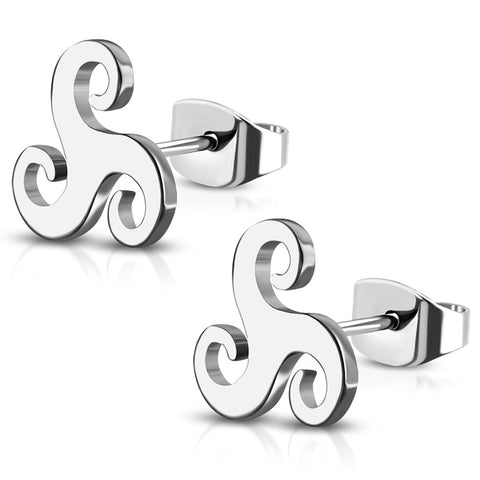 Stainless Steel Celtic Triskelion Symbol Spiral Stud Post Earrings - Comfort Zone Studios