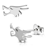 Stainless Steel Howling Winter Wolf Cut-Out Stud Post Earrings - Comfort Zone Studios