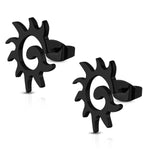 Stainless Steel Tribal Spiral Sun Dragon Tail Button Stud Post Earrings - Comfort Zone Studios
