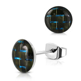 Stainless Steel Two-Tone Carbon Fiber Round Circle Button Stud Post Earrings - Comfort Zone Studios