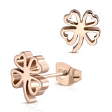 Stainless Steel Four Leaf Clover Shamrock Love Heart Cut-Out Stud Post Earrings - Comfort Zone Studios