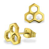 Stainless Steel Honeycomb Bee Hive Hexagon Stud Post Button Earrings - Comfort Zone Studios