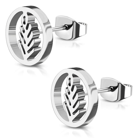 Stainless Steel Nature Olive Leaf Branch Circle Round Button Stud Post Earrings - Comfort Zone Studios