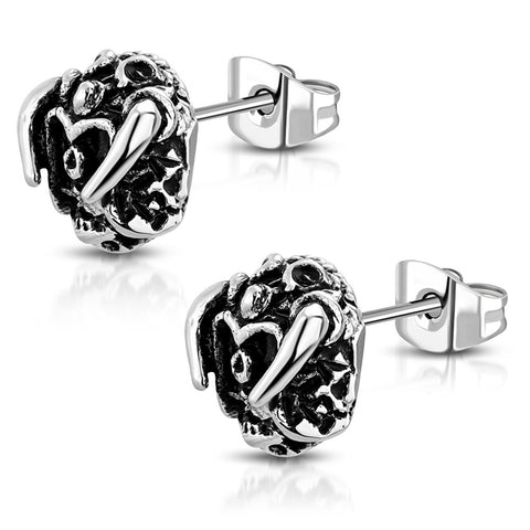 Stainless Steel 3D Minotaur Bull Skull Bone Two-Tone Biker Stud Post Earrings - Comfort Zone Studios