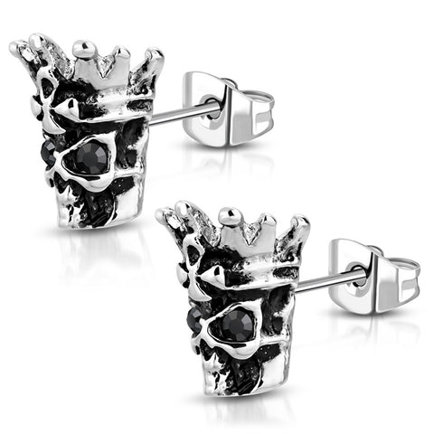 Stainless Steel 3D Skeleton King Skull Bone Jet Black CZ Two-Tone Biker Stud Post Earrings - Comfort Zone Studios
