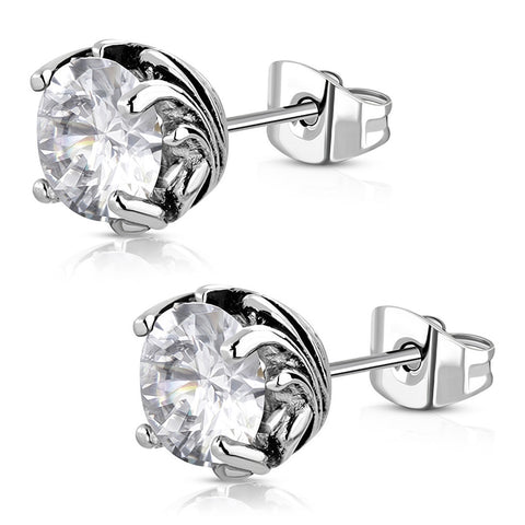 Stainless Steel Bali Floral CZ Round Circle Flower Stud Post Earrings - Comfort Zone Studios