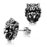Stainless Steel 3D Dragon Head Zodiac CZ Two-Tone Biker Stud Post Earrings - Comfort Zone Studios