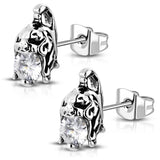 Stainless Steel 3D Spartan Warrior Skull Bone Helmet CZ Two-Tone Biker Stud Post Earrings - Comfort Zone Studios