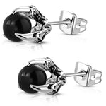 Stainless Steel 3D Dragon Talon Claw Crystal Ball Two-Tone Biker Stud Post Earrings - Comfort Zone Studios