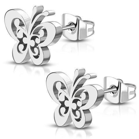 Stainless Steel Floral Filigree Butterfly Cut-Out Stud Post Piercing Earrings - Comfort Zone Studios