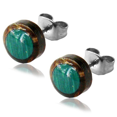 Natural Organic Coco Shell Inlay Stainless Steel Illusion Button Stud Post Earrings - Comfort Zone Studios