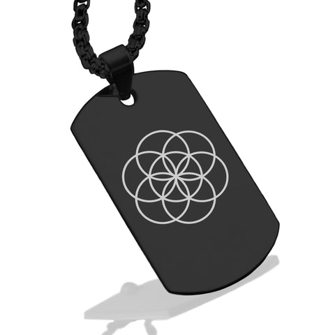 Stainless Steel Sacred Geometry Seed of Life Dog Tag Pendant - Comfort Zone Studios