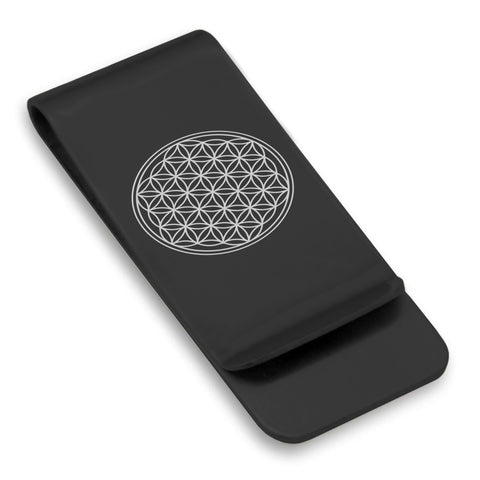 Stainless Steel Sacred Geometry Flower of Life Classic Slim Money Clip