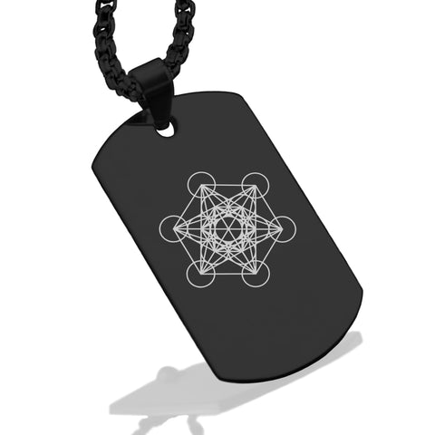 Stainless Steel Sacred Geometry Metatron's Cube Dog Tag Pendant - Comfort Zone Studios
