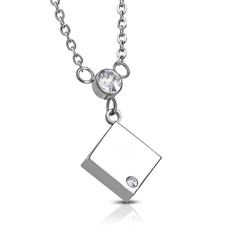 Stainless Steel Square Cube Bezel-Set CZ Charm Link Chain Necklace Pendant - Comfort Zone Studios