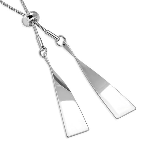 Stainless Steel Twisted Bar Paddle Adjustable Snake Chain Necklace Pendant - Comfort Zone Studios