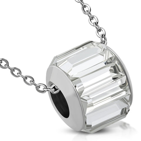 Stainless Steel Bead Barrel Baguette Crystals Charm Link Chain Necklace Pendant - Comfort Zone Studios