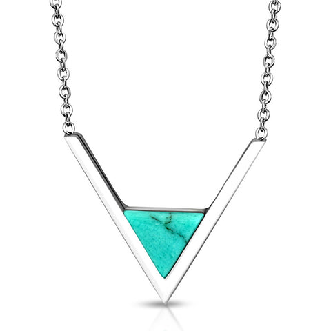 Stainless Steel Classic V Triangle Turquoise Stone Charm Link Chain Necklace Pendant - Comfort Zone Studios