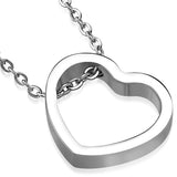 Stainless Steel Floating Open Love Heart Charm Link Chain Necklace Pendant - Comfort Zone Studios