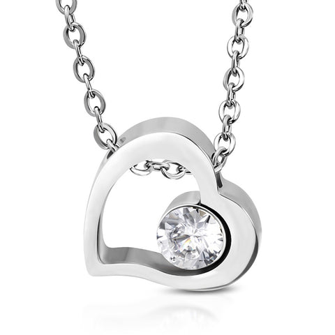 Stainless Steel Floating Open Love Heart Cubic ZIrconia Charm Link Chain Necklace Pendant - Comfort Zone Studios