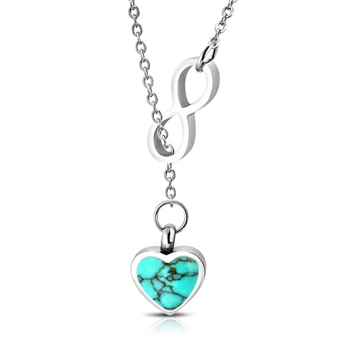 Stainless Steel Interlocking Infinity Love Heart Turquoise Stone Charm Link Chain Necklace - Comfort Zone Studios